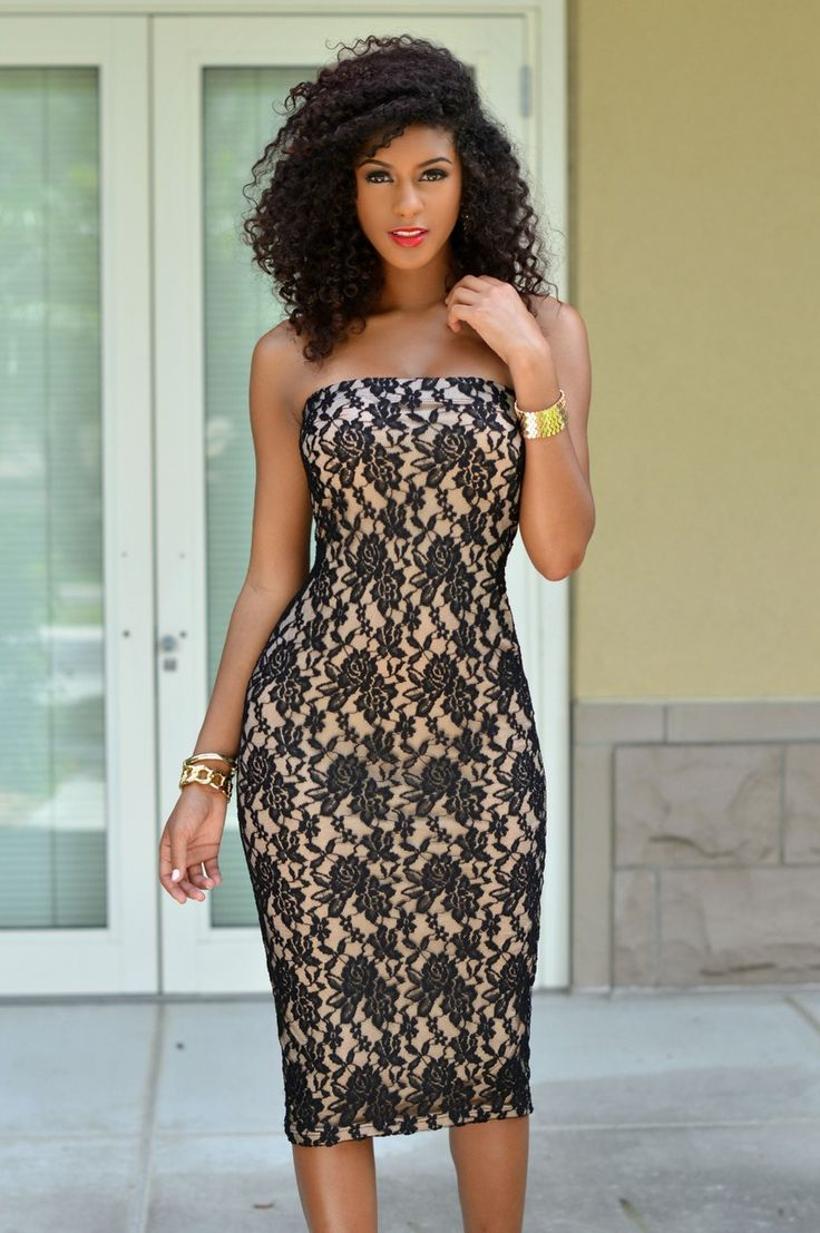 Chic Couture Online - Mandisa Black Lace Nude Illusion Tube Dress, $45.00 (http://www.chiccoutureonline.com/mandisa-black-lace-nude-illusion-tube-dress/?page_context=category