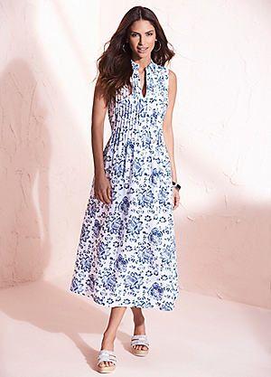 Print Linen Rich Midi Dress #kaleidoscope #summer #fashion