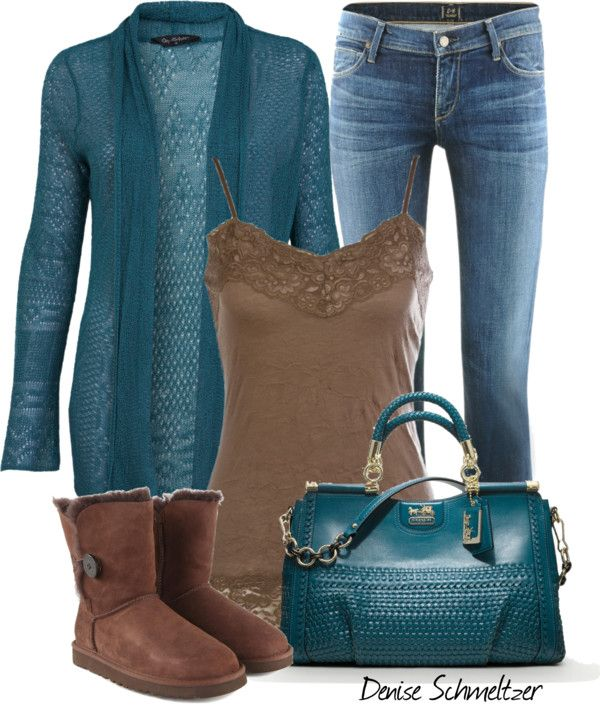 """Teal and Brown"" by denise-schmeltzer on Polyvore// Coach purse !!"