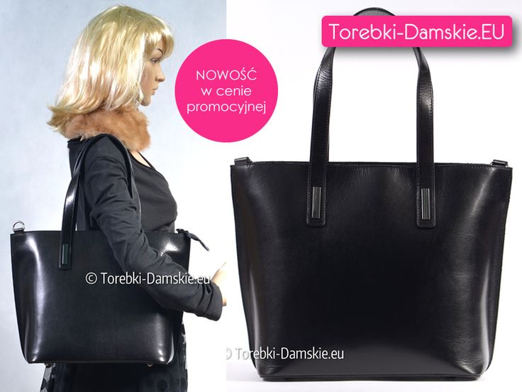 Najnowszy model - czarna skórzana torebka damska dużej wielkości (mieści format A4). Oryginalny produkt włoski. Z przodu ozdobne niewielkie metalowe elementy, z tyłu kieszeń na zamek błyskawiczny, wewnątrz przegroda. #handbags #torebki