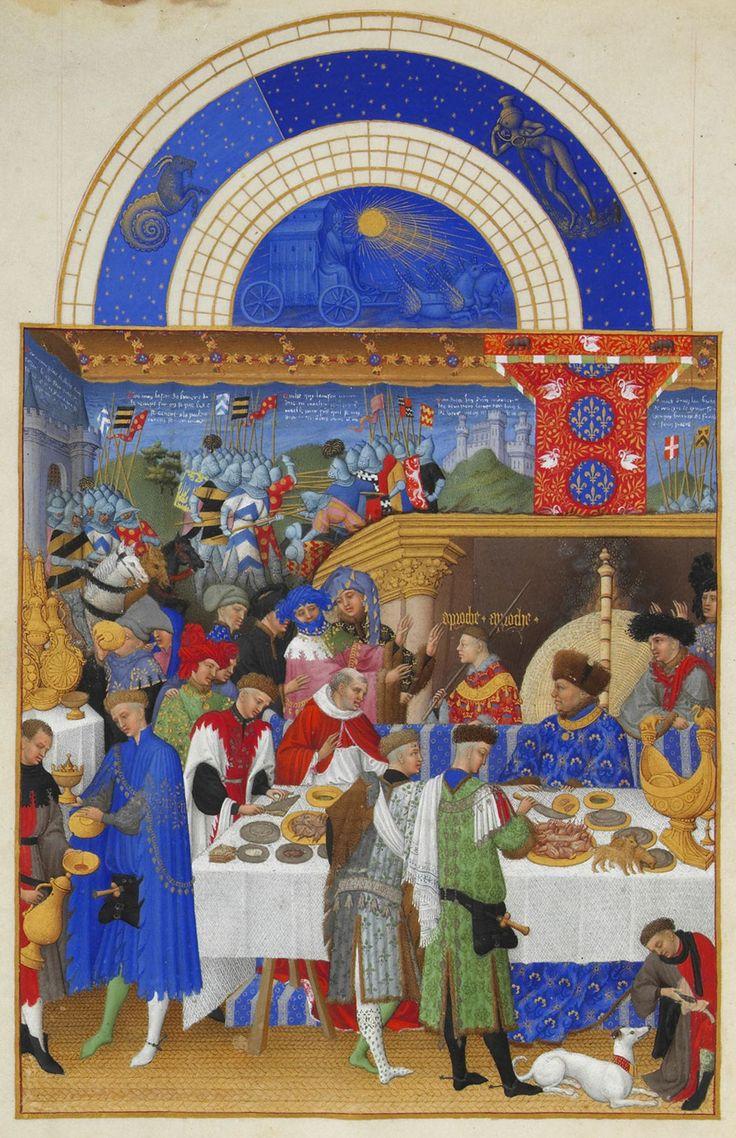 Johann von Valois bei einem großen Mahl. Der Herzog sitzt an einem hohen Tisch unter einem luxuriösen Baldachin vor dem Kamin. Auf dem Tisch links vom Herzog ist ein goldenes Salzfässchen in Form eines Schiffs; Illustration von Très Riches Heures Das Stundenbuch des Herzogs von Berry, ca. 1410.