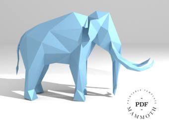 Printable DIY template (PDF). Mammoth low poly paper model. 3D animal paper sculpture. Origami. Papercraft. Cardboard animal.