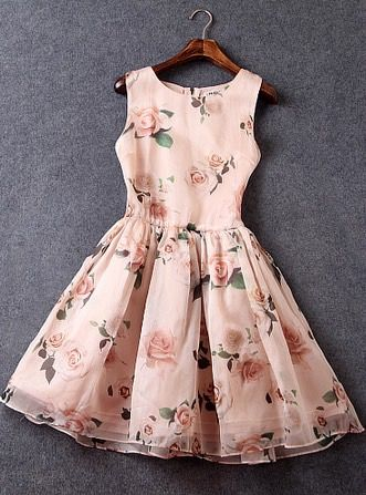 Slim Printing Organza Sleeveless Dress