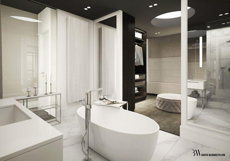 Nowoczesna, biała łazienka z nutą minimalizmu, ozdobiona wanną firmy Riho Bilbao i marmurową podłogą. http://bartekwlodarczyk.com/