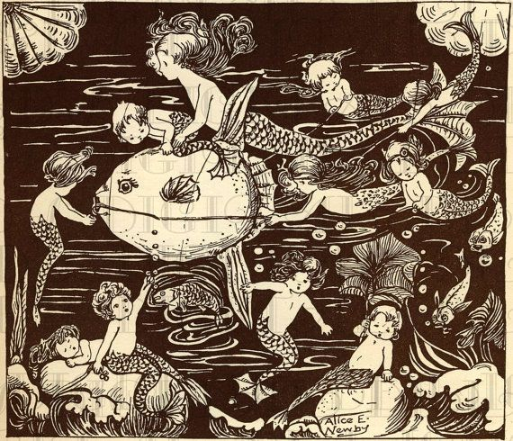 MERMAIDS and Mermen. Fairy Tale Vintage DIGITAL Illustration. Mermaid Digital Download. Mermaid Digital PRINT. via Etsy