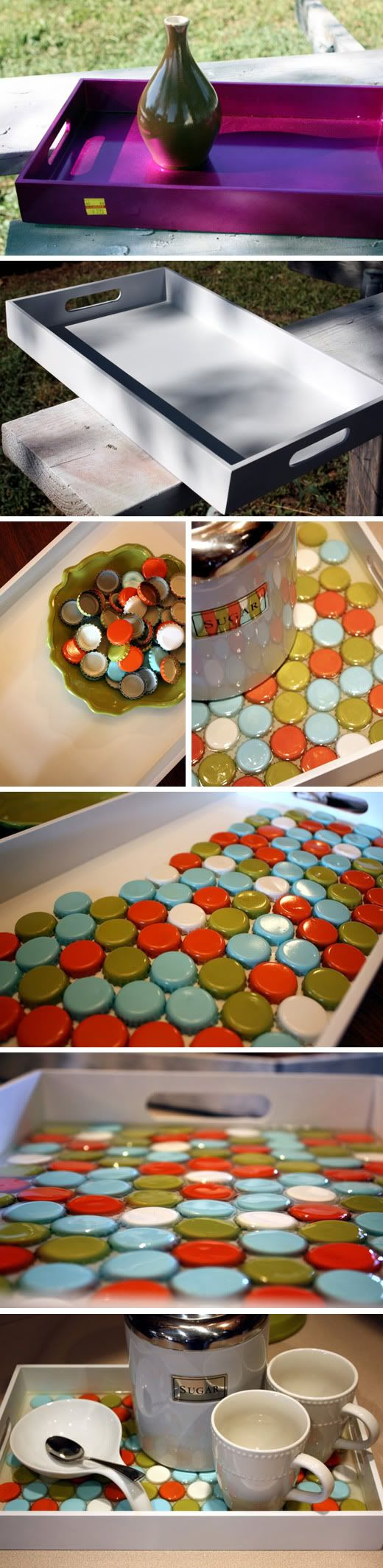 DIY: Very cool Bottle Cap Tray. I thought this was a pretty sweet idea from {Apartment Therapy} of something to do with a collection of bottle caps - either paint them or keep the branding from your beverage of choice. This is a perfect project that can start with a cool tray picked up from a swap meet, thrift store or if you have an old one lying around that needs some sprucing up.