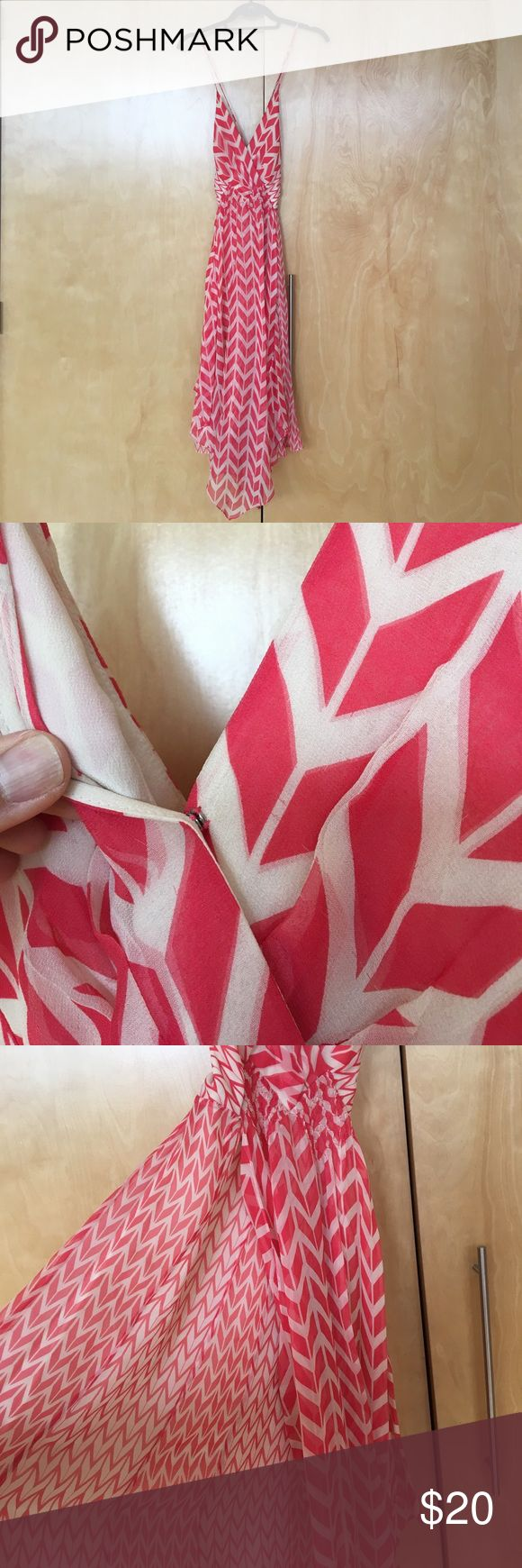 BCBG max Azria chevron print dress Max Azria Collection. Silk pink chevron print dress. Zipper on side. Clasp closure on front. BCBGMaxAzria Dresses