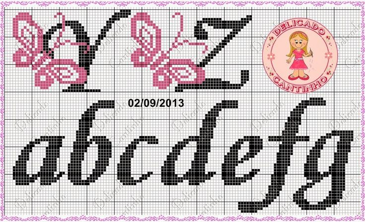 Alfabeto mariposas punto de cruz