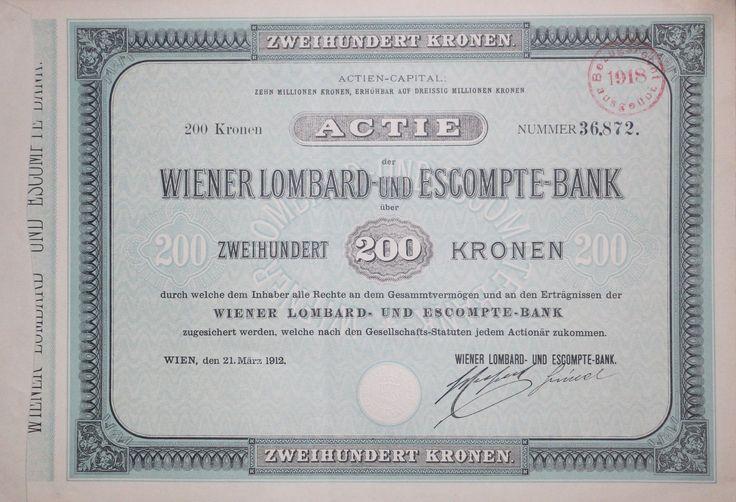 "TOP-Ausgabe: Aktie ""WIENER LOMBARD- UND ESCOMPTE-BANK"", 200 Kronen, Wien 1912"