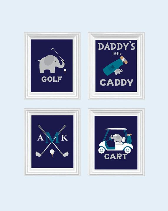 Baby Boy Golf Elephant Nursery Art Decor by SweetLittleBarn, $49.99