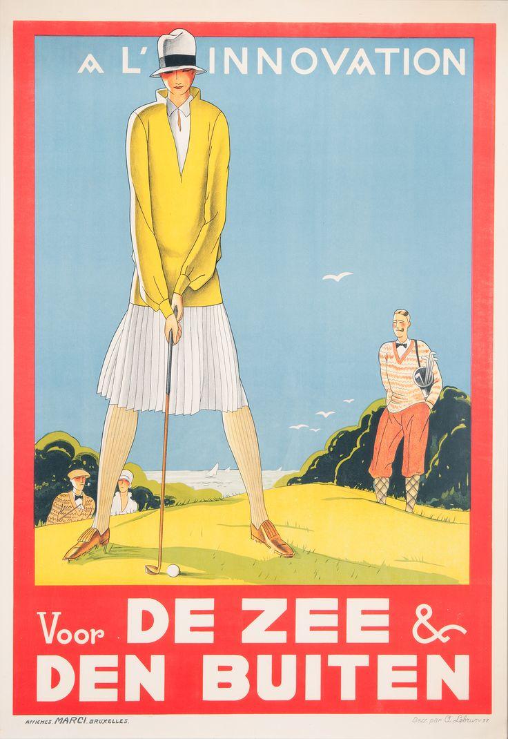 """A l'Innovation / Voor de zee en den buiten"" Artist:Lebrun A. Publisher:L'Innovation Printer:Marci, Brussels Year:1927 Vintage posters available online!"