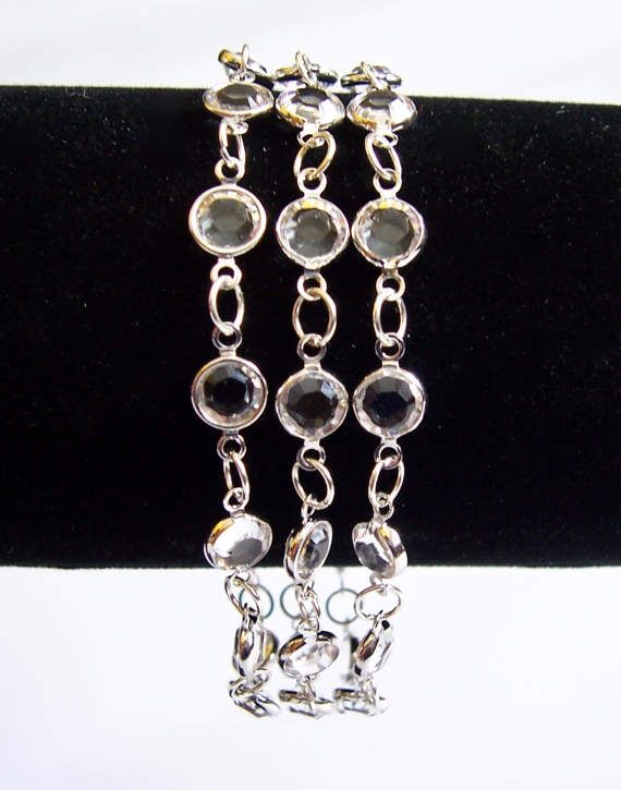 Swarovski crystal triple strand channel wedding by starrydreams
