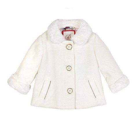 Baker by Ted Baker Girls' off white faux fur trim coat | Debenhams