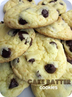 Cake Batter Chocolate Chip Cookies- the softest and yummiest cookies! SixSistersStuff.com #cookies #dessert