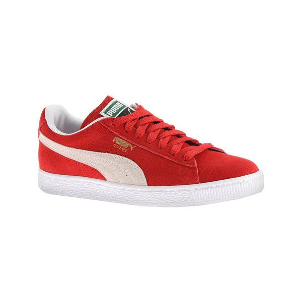 Women's PUMA Suede Classic+ Sneaker - High Risk Red/White Casual ($65) ❤  liked on Polyvore featuring shoes, sneakers, casual, casual shoes, puma  trainers, ...