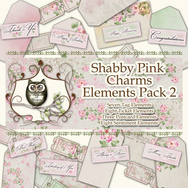 *****NEW***** Shabby Pink Charms Element Pack 2 - Digital Element Pack, Shabby Element, Digital Elements Sheet, Vintage Element