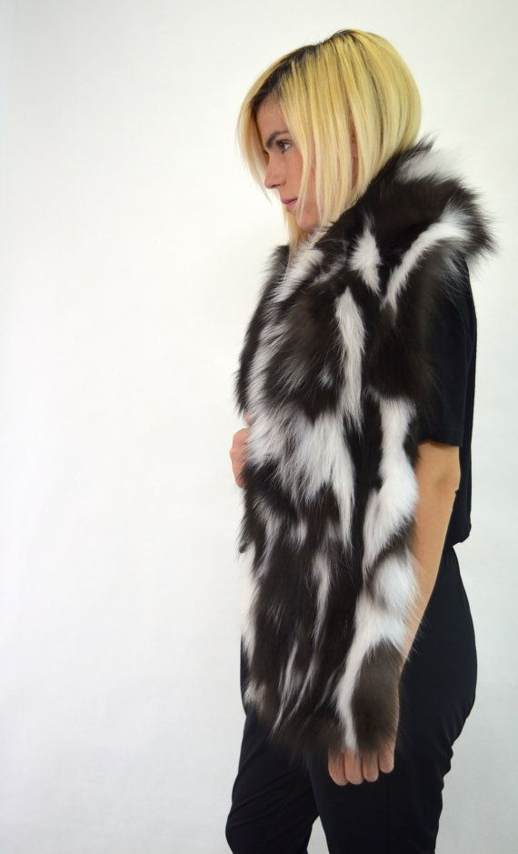 Real black and white fox fur scarf multicolour wrap by BeFur