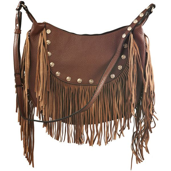 8a5c3c4433a0 Liquorish Brown Fringed Cross Body Bag With Studs ($60) ❤ liked on Polyvore  featuring bags, handbags, shoulder bags, purses, acces…
