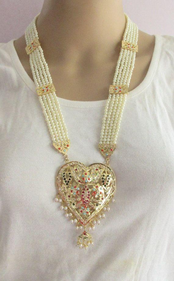Jadau Necklace Set/Rani Haar Multi Color 5 Layer by Beauteshoppe