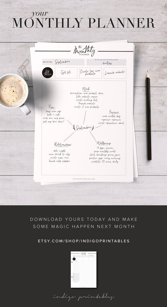 Printable Monthly Planner, 3 Pages   Created by @IndigoPrintables This monthly planner will help organise your month in a beautifully sleek way