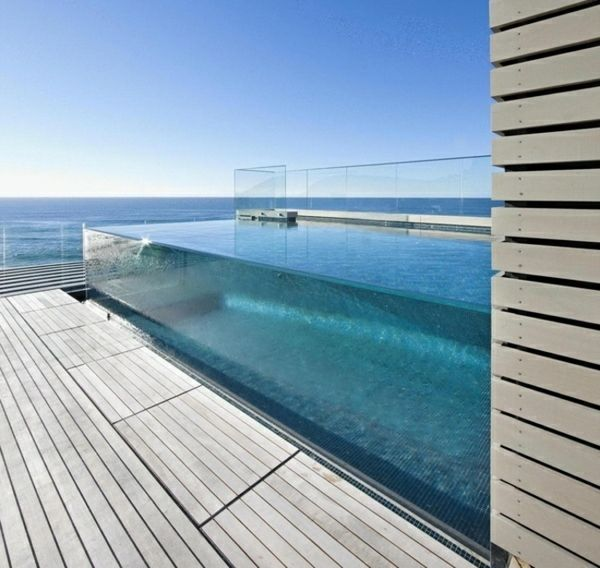 Divine Renovations Pools #Clear #Sides #Built #Up #Beach #View #Edgeless #Pool