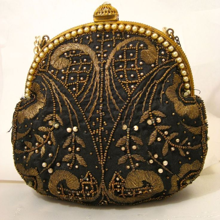 Antique bags | Vintage French Purse Embroidered with Metallic Thread & Faux Pearl ...