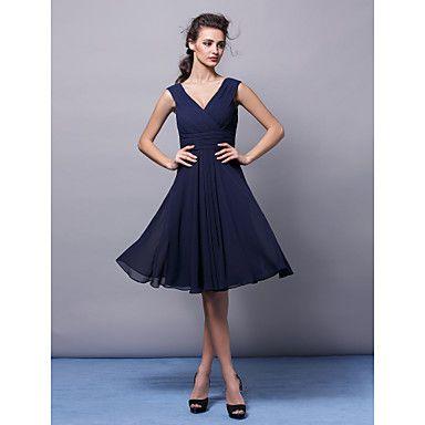 Lanting Knee-length Chiffon Bridesmaid Dress - Dark Navy Plus Sizes / Petite A-line V-neck - USD $ 69.99
