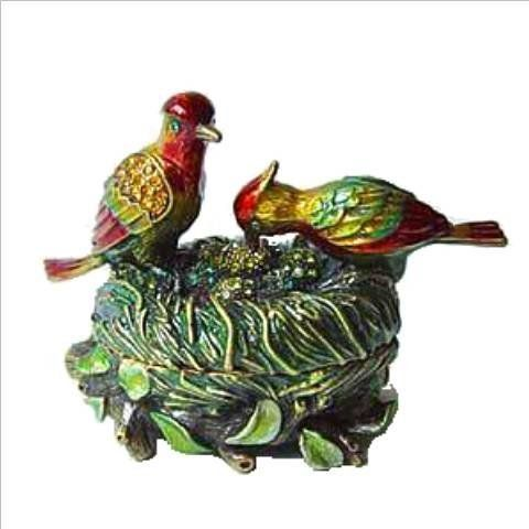 LoveBirds Box Swarovski Crystals Love Birds Jewelry, Trinket or Pill Box FIGURINE Dazzlers. $39.95. Stocked on site! Quick Delivery! (See this item's detailed specifications below.). Arrives in a padded, satin lined Presentation Box. 100% Satisfaction Guaranteed by this bonded seller.. Set with sparkling Swarovski Crystals and meticulously hand enameled by skilled artisans.. Certificate of Authenticity included. Limited edition item which is sure to grow in value over time.. Op...