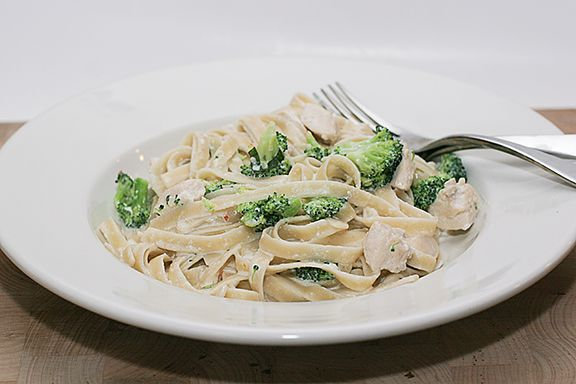 Grilled chicken and broccoli alfredo, on whole wheat noodles of course.