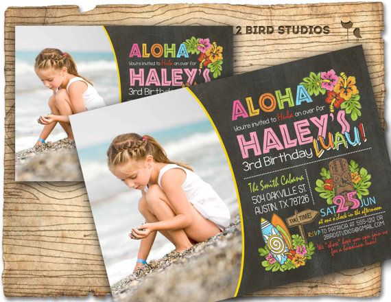 Luau birthday invitation Summer pool party by 2birdstudios