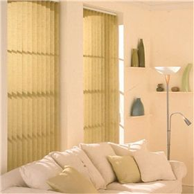 Soft neutral vertical blinds fabric offers a calm and relaxing feel.
