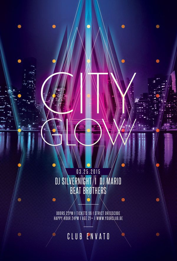 City Glow Flyer by styleWish (Buy PSD file - $9) #design #poster #graphic