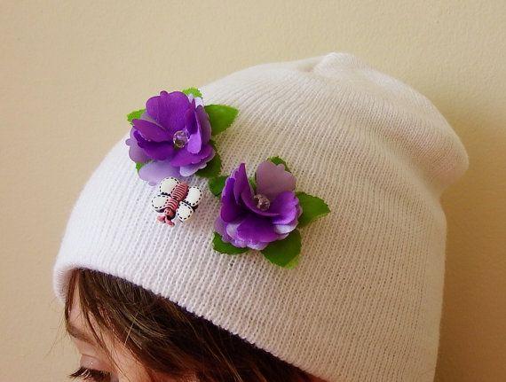 Kids hat, textile, floral, embroidered hat, design hat, white, purple flower, kids fashion, unique gift for kids, spring sale, girls hat