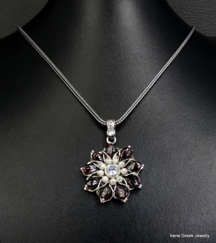RARE LUXURY NATURAL GARNET & PEARLS FLOWER 925 STERLING SILVER GREEK NECKLACE #IreneGreekJewelry #Pendant