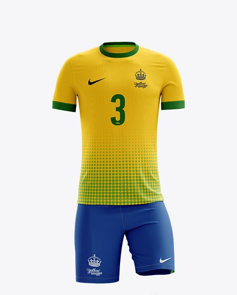 Men's Full Soccer Kit Mockup - Front View (Close-Up)