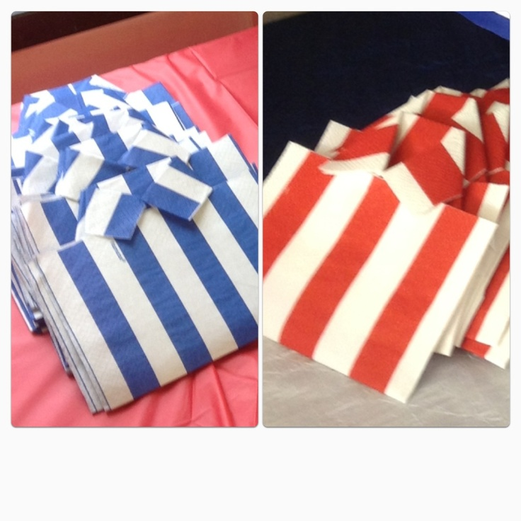 Napkins folded into shirts