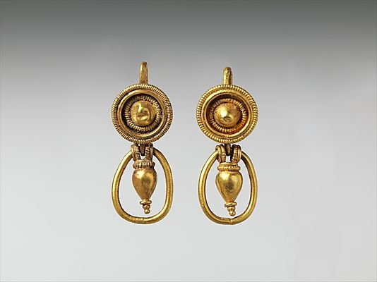 Gold earrings with pendant vase and ring  Period: Classical Date: 4th century B.C. Culture: Etruscan Medium: Gold
