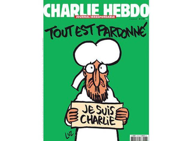 """La couverture de Charlie Hebdo, un dessin de Mahomet avec une pancarte """"Je suis Charlie"""""""
