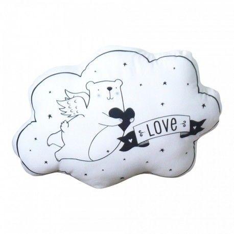 "Coussin ""Ours Cupidon"", cupidon, ours, love, ange, angel, nounours, nanelle, noir et blanc"