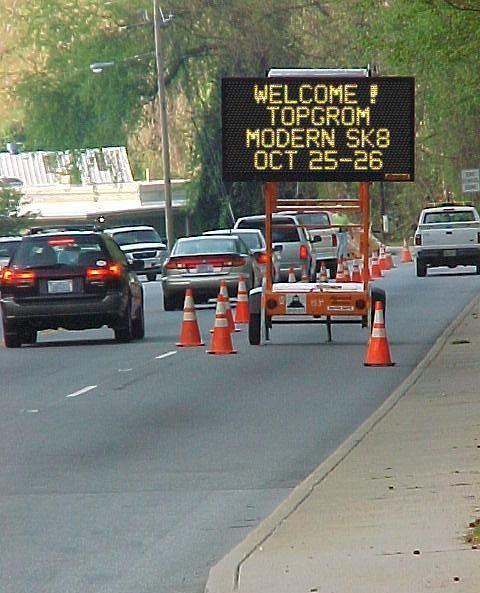 Modern Skatepark road sign