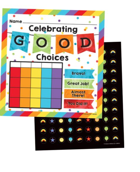"""Motivational charts help your students reach their goals! Motivate students with the Celebrate Learning mini incentive chart set. Each of the 30 mini incentive charts measures 4.75"""" x 5"""" and features the message """"Celebrate Good Choices."""" This set includes 630 chart seals—each designed with one of these accents: balloons, rainbows, stars, and suns."""