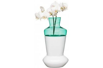 Dvojdílná váza SAGAFORM Duo, bílá/tyrkysová