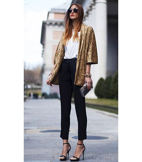 @Who What Wear - All That Glitters Is Gold                 A lustrous jacket paired with relaxed pieces is a fun way to be both casual and dressy at the same time.  Get The Look: DKNY Silk Jacket ($924); Joie Maxi Pants ($268).  Pinned via the-attitude.tumblr.com