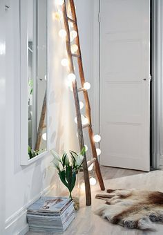 Maybe put my twinkle lights from around the grouping behind the couch, on the ladder with the blankets.