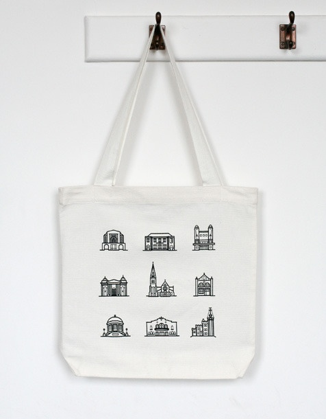 Tote Bag by Laura Griffiths & Stephen McCarthy to commemorate buildings lost in christchurch - the sales benefit the historic places trust; they also did a poster - cool! from retrace.co.nz