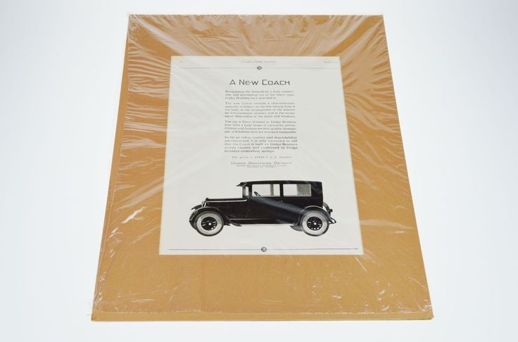 1925 Dodge Print Ad A New Coach From The Ladies Home Journal w/ Certificate