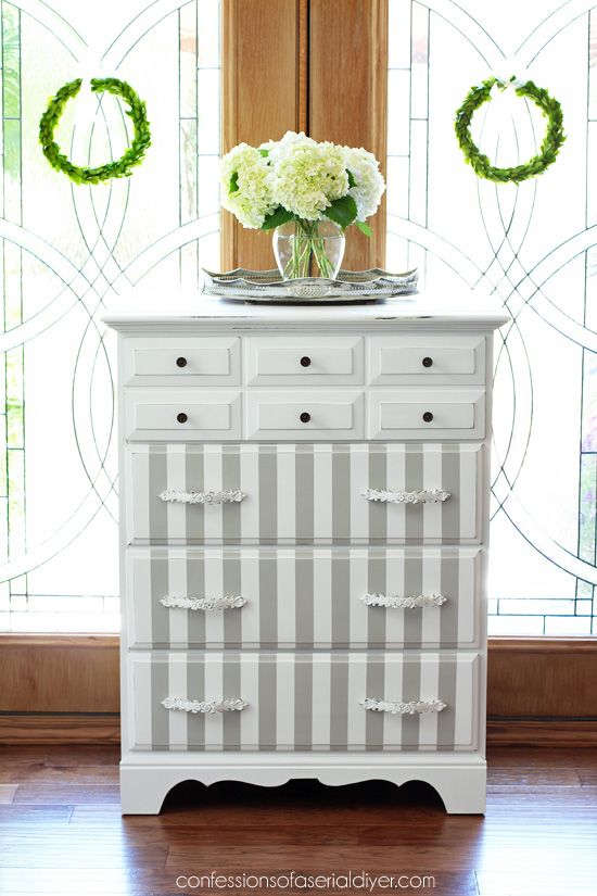 Idea For Painted Doors In Half Moon Table. French Linen And White Striped  Dresser Makeover From Confessions Of A Serial Do It Yourselfer