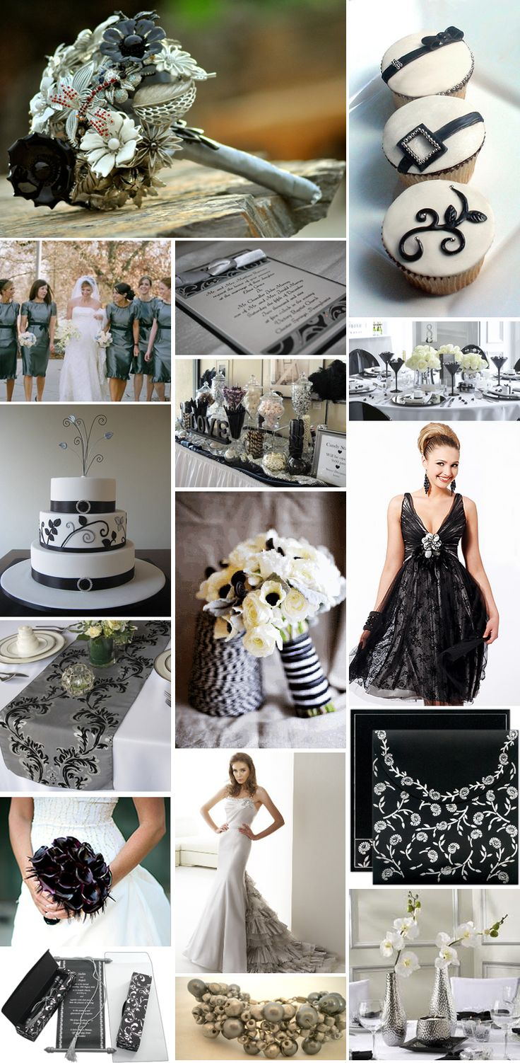 Black and Silver wedding theme...not getting married but this is just cool.