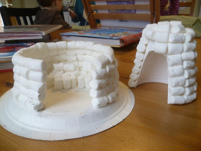 Very Last First Time - igloos using marshmallows and styrofoam cups or plastic containers