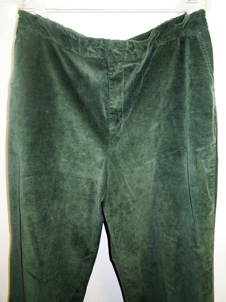 BEAUTIFUL Hunter Green Trousers! Women Sz XL, 1X #DenimCo #Corduroy #Trousers #PlusSize #WomensFashion